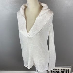 J. Crew open knit linen blend white sweater M